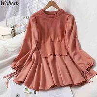 WOHERN Sonbahar Moda Sahte İki Peices Elbise Kadın Örme Yelek Yama Uzun Kollu Gömlek Dresse Kore Robe Sevimli Mini Vestido 210417