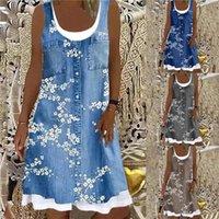 Casual Dresses Vintage Floral Print A-Line Dress Women 2021 Summer Square Collar Sleeveless Mini Ladies Fashion Loose