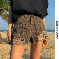 Genyayooa Jean Mulheres Verão Casual Tigh Calça Jeans Feminino Leopardo Alto Cintura Sexy Mini Denim Shorts 210417
