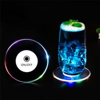 6Pcs 10CM Acrylic LED Flashing Coasters Light Up Cocktail Wine Glass Cup Mat for Xams Bar Event Holiday Wedding Party Decoration