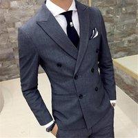 Men's Suits & Blazers 2021 Top Selling Grey Wedding Men Suit 2Pieces(Jacket+Pant+Tie) Custom Made Latest Groom Tuxedos Bridegroom Blazer