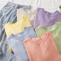 Social Harajuku Candy Colors Tops Womens Sweatshirts Long sleeved Cotton Pullover Clothes