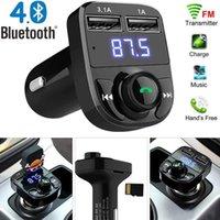 X8 avec 3.1A Charge rapide Chargeur de voiture USB Dual USB Accessoire FM Transmetteur FM Modulateur Bluetooth Kit de voiture Bluetooth Kit de voiture Audio Lecteur MP3