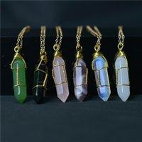 Шестиугольник в форме чакра натуральный камень заживление заживления ожерелья с золотой цепочкой для женских ювелирных изделий подарок Willl и песчаные украшения
