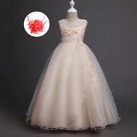 Платья девочки Шампанское персик тюль европейский стиль маленькая большая девочка детская свадьба для девочек без рукавов бальное платье Pageant