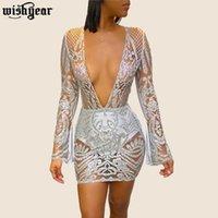 Повседневные платья 2021 весенняя сетка См. Через мини-платье V-образным вырезом блестки, выдолбленные OUT Sexy Night Club Party Bandage Bodycon Plus Размер