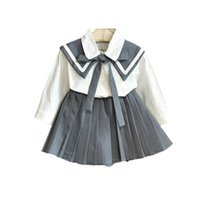 Girls Outfits Kids Clothing Sets Baby Clothes Children Suit Spring Autumn Long Sleeve Shirts Pleated Skirts 2Pcs B8462