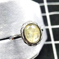 Cluster Rings 12x10mm Real Natural Gold Rutilated Quartz Ring Jewelry For Woman Man Crystal Oval Beads Silver Gemstone Adjustable