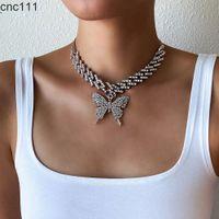 Мода бабочка заморожена кубинская ссылка цепи ожерелье женские 2021 Chocker хип хмель ювелирные изделия льда ювелирные изделия