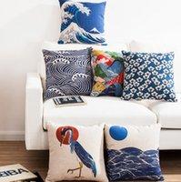 Подушка / декоративная подушка 50x30см / 45x45 см Японские укио-е в стиле подушка для подушки хлопчатобумажные льняные ретро килоть талии наволочка