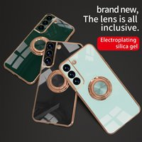 Silicone Phone Cases Luxury Plating Case For Samsung Galaxy S20 Ultra S21 Plus FE Note 20 9 10 A52 A72 A42 5G 4G Protective Shell Cover With Ring Holder Stand