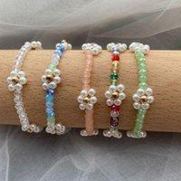 Link, Corrente Bohemian Bead Coreano Margarida Flor Bracelete para Mulheres Meninas Imitação Bonito Pérola Charme Floral Handmade Jóias Pulseira