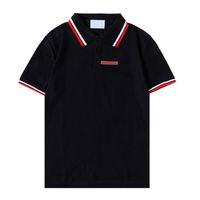 럭셔리 캐주얼 망 티셔츠 통기성 폴로 착용 디자이너 짧은 소매 티셔츠 100 % 코튼 고품질 도매 흑백 크기 ~ 2XL