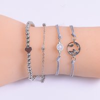Factory World map Wax Rope boat anchor big flash drill peach heart Beaded Bracelet 4-piece suit VI98