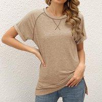여름 티셔츠 Raglan 소매 티셔츠 여성 의류 캐주얼 루스 오크 탑 티셔츠 여성 반팔 탑 레이디 티셔츠 여성의 티셔츠