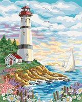 Dipinti Lakeside Castle Girl With Beautiful Sea Fai da te Canvas Paint By Numbers Modern Acrilico Acrilico Astratto Picture Parete
