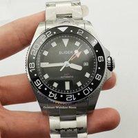Наручные часы 43 мм Bliger GMT Стерильные мужские часы Черный циферблат Sapphire стекла Дата керамические рамки автоматические часы