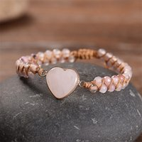 Mujeres Rose Cuarzo Heart Stone Charm Pink Jasper Bead String Braided Brazalet Pulsera Ajustable Natural Ajustable Pulseras Tenis 3684 Q2