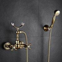 Robinet de salle de bain robinets polis doré baignoire à la main pluie pommeau de douche robinet robinet laiton luxe céramique téléphone bain mural