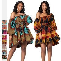 Ethnic Clothing 2021 African Urban Style Women's Dress Printed Fashion Oblique Shoulder Long-Sleeved With Belt Indonesian Short Skirt