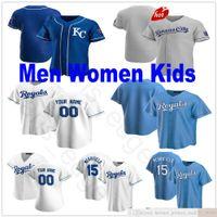 Personalizado 2021 homens mulheres juventude jerseys beisebol 5 george brett 4 alex gordon 13 salvador perez 15 whit Merrifield costurado crianças jersey