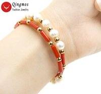 """Qingmos Fashion Thick Slice 3*9mm Natural Red Coral Bracelet For Women With 6mm White Pearl 15"""" Steel Wire Wrap Jewelry Beaded, Strands"""