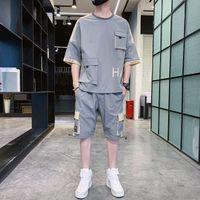 Luxury T-shirts Casual Men's Sportswear Summer Thin Ice Silk One Set of Half Cloth Wear Fashion Brand Short Sleeve T-shirt