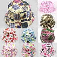 Kids Children Canvas Bucket Hat Fisherman Cap Topee Outdoor Travel Casual Sunhat Floral Grid Printed Beanie Hats Folding Fishing Caps Visor 30 Color G49T0TR