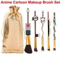 Anime Demon Slayer Makeup Brush Set 5pcs cartoon brushes For Foundation Powder Eye Shadow Lip Brush Cosmetic Cosplay Gift Make Up Tool with Storage Bag