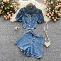 Женские летние кисточки вырезать отверстие джинсы топы + кнопка летать шорты наборы шикарные дизайн две части джинсовые короткие брюки костюм наряд 210530