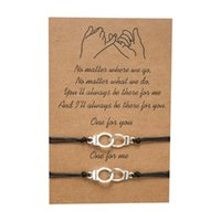 Charm Bracelets Lovers European&American Creative Freedom Letter H&cuffs Wax Rope Woven Friendship Card Bracelet For Women Jewelry