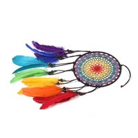 Arts and Crafts Handmade Dreamcatcher Wind Chimes 7 Rainbow Color Feather Dream Catchers For Gifts Wedding Home Decor Ornaments Hang Decoration WX03