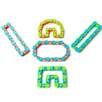 50%off 24 knots Chain Wacky Tracks Anti Stress Toy Sensory Fidget Toys Snap and Click Snake Puzzles for Stress Relief Assorted Colors