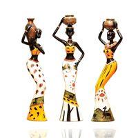 3Pcs set Resin African Figure Sculpture Tribal Lady Figurine Statue Decor Collectible Art Piece Indoor Office Study Room el 210727