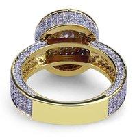 Luxo Bling Cúbico Zircônia Anéis De Casamento Para Homens Mulheres Moda 18K Banhado A Ouro Cobre Círculo Geométrico Hip Hop Jóias Festa Presentes 3474 Q2