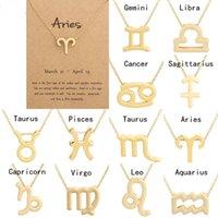 Mode Tierkreiszeichen Anhänger Halsketten Für Frauen Schmuck 12 Konstellationen Halskette Collarborn Kette Packung mit Kartengroßhandel