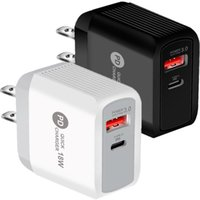 Fast Quick Charge 18W PD USB-C Wall Charger Dual Ports Ac Home Travel Power Adapters For Iphone 12 13 Pro Max Samsung Lg android phone PC mp3 With Retail BOX