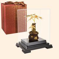 Декоративные объекты Figurines Asklove Feng Shui Fortune Tree Gold Bonsai Ornament 24K Фольга Украшения Денежные подарки Домашний декор Офисный рабочий стол