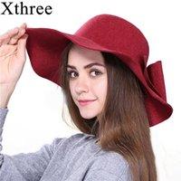 Stingy Brim Hats Xthree Fashion Autumn Vintage Wool Wide-Brim Fedoras For Women's Hat Bowler Floppy Fall Ladies Cap