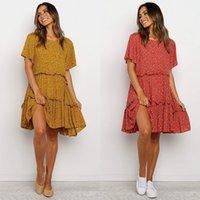 Women top 2021 Summer Bohemian Round Neck Loose Ear Side Floral Dress A-line Skirt