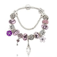plated Pandora Bracelets For Women Royal Charm Bracelet pink Crystal Beads Diy love