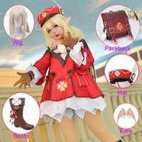 Anime Game Genshin Wirkung Klee Cosplay Kostüm Rucksack Perücke Schuhe Outfit Lolita Kleid Frauen Halloween Party