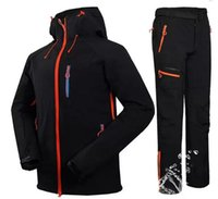 Outdoor Jackets&Hoodies Winter Men Hiking Ski Softshell Jacket Suits Fishing Climbing Camping Waterproof + Fleece Pants Sets