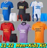 Rangers 2021 2022 Jersey de football Accueil Troisième Glasgow 150ème entraînement Tavernier Defoe Barker Morelos Middleton 21 22 Shirt de football Hommes Kit enfants