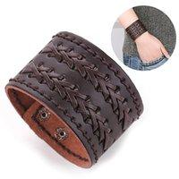 Charm Bracelets Unique Cuff Wristband Faux Leather Braided Bracelet Unisex Retro Punk Bangle Woven For Men Women Jewelry Accessories