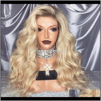 Ombre Blonde Wave Heat Resistant Women Wedding Party Present Synthetic Lace Front Daily Wigs Natural Baby Hair 0Cdgq E6Lru