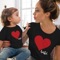 Print Cute Tshirts Crew Neck Short Sleeves Women Summer Designer Clothing Fashion Casual Apparel Parent Clothing Heart