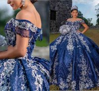 Bling Sequined Tulle Beading Quinceanera Dresses Navy Blue 2022 Ball Gown Off the Shoulder Ivory Flower Applique Sweet 15 16 Girl
