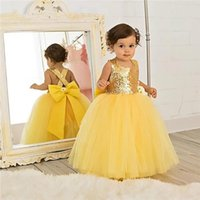 Girl's Dresses Yellow Puffy Custom Made Tulle Baby Girls Birthday Dress Sequined Top With Big Bow Little Pageant Party Gown