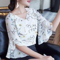 Kadın Yaz Tarzı V Yaka Çiçek Baskılı Bluzlar Şerit Balıkları Kısa Flare Kollu Gömlek Lady Rahat Papyon Blusas